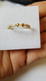 Anel Em Ouro Com Zirconio E Laço Em Ouro Amarelo 18k 750