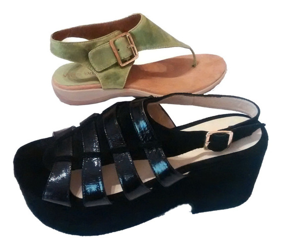 Zapatos Mujer Ojota Sandalia Plataforma Cuero 2x1 No. 40
