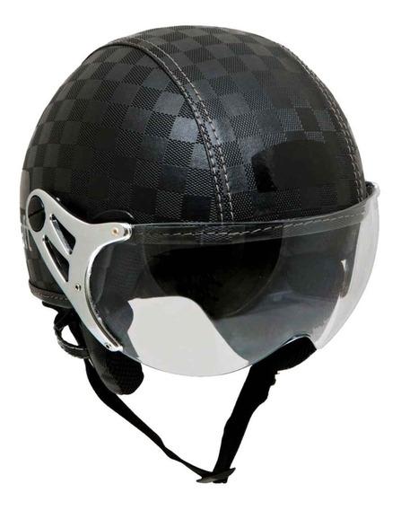 Capacete Motociclista Custom Kraft Xadrez Couro Shadow Hd