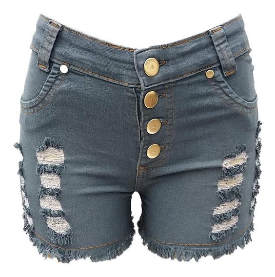Short Jeans Feminino Verde Rasgado Cintura Alta Com Lycra