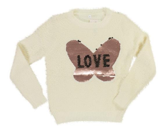 Sweater Sueter Nena Lentejuelas Reversibles Regalosdemama