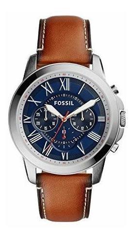 Reloj Fossil Fs5210 Acero Inox Piel Cronómetro Cuarzo