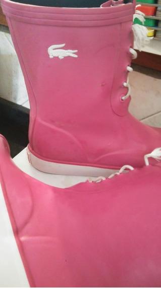 Botas Lluvia Lacoste Mujer Rosas Impecables De Verdad!!