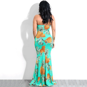 Mulheres Tubo Top Longo Vestido De Abacaxi Impress?o Tor??o