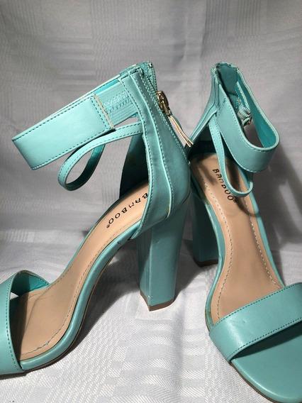 Zapatos De Taco Eco Cuero Verde Agua Tobillera