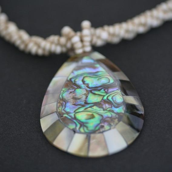C506 - Colar De Pedra Abalone Gotas