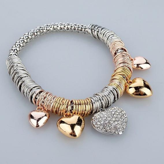 Pulseira Feminina Prata Folheada Ouro 18k Coração Luxo C612