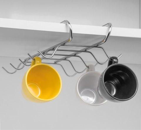 Imagem 1 de 3 de Suporte Organizador Porta 10 Xícaras Para Armário Sem Furos