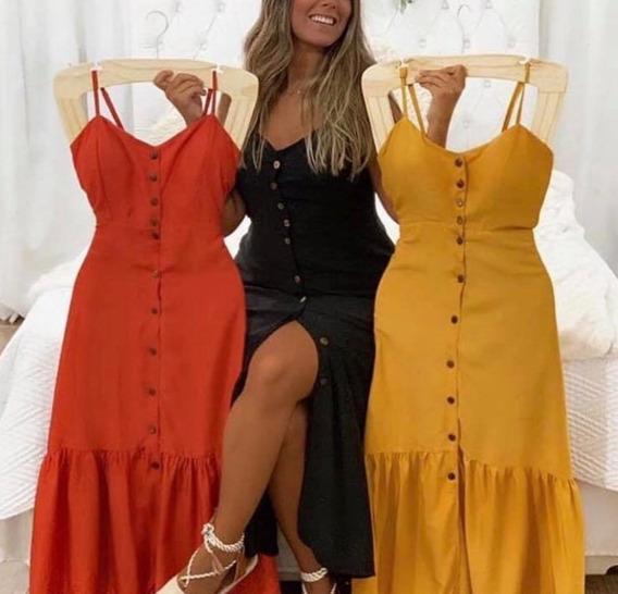 Vestido Longo C/botãos Alça Blogueira Forrado Verao Instagrm