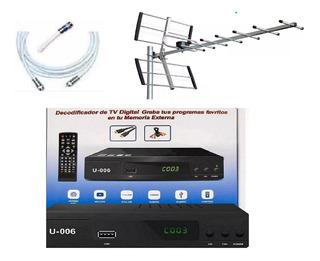 Kit Completo Tv Digital Antena Ext Receptor Tda Cables