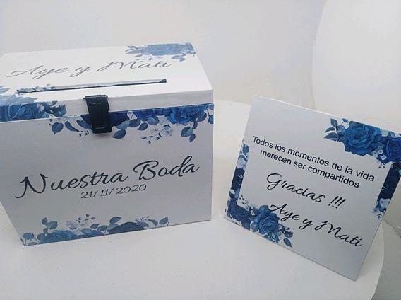 Buzon Boda Flores Azules Romantic