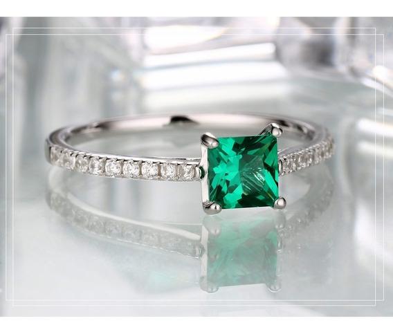 Anel De Esmeralda Verde Genuine Sólido 925 Sterling Jóias Pa