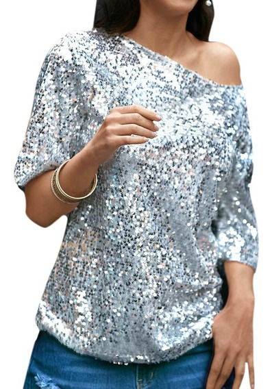 Mulheres Sexy Solto Off Ombro Lantejoula Glitter Blusas De