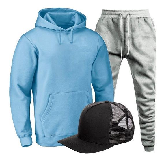 Conjunto Moletom Completo Blusa De Frio Calça E Boné Esporte
