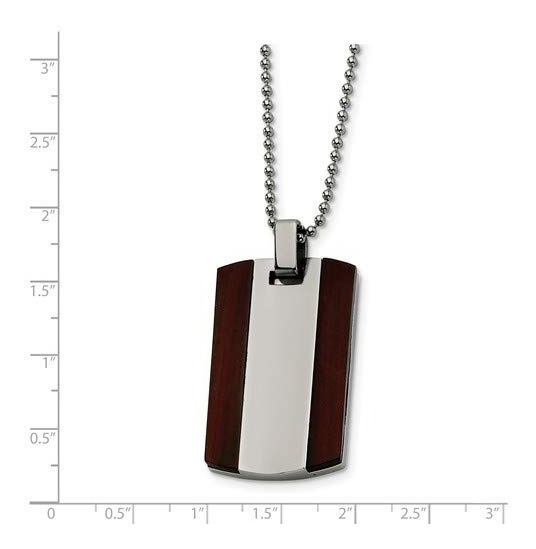 Collares Wood Dog Tag Pendant 316l The Menøs Jewelry Store