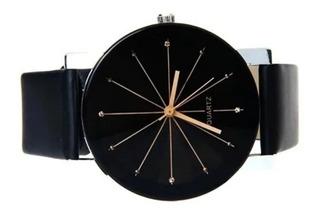 Relógio Feminino De Pulso Preto Barato Casual Pulseira Couro