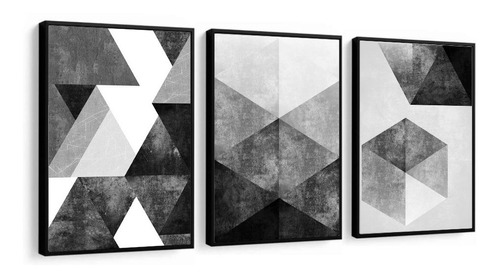 Quadro Decorativo Abstrato Moderno Tons Preto E Cinza Sala
