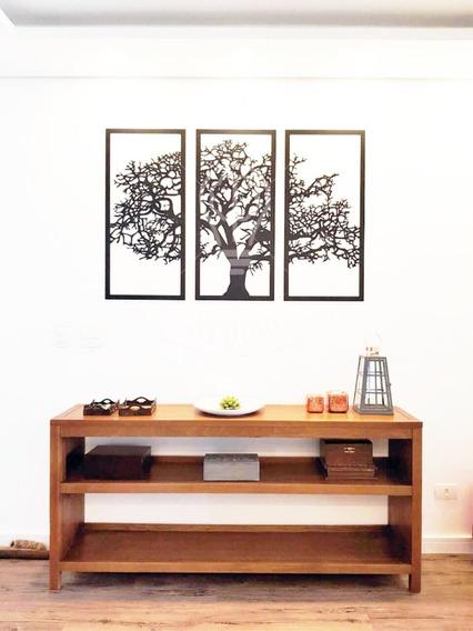 Quadro Árvore Da Vida 3 Peças Madeira Preta (padrão) +brinde