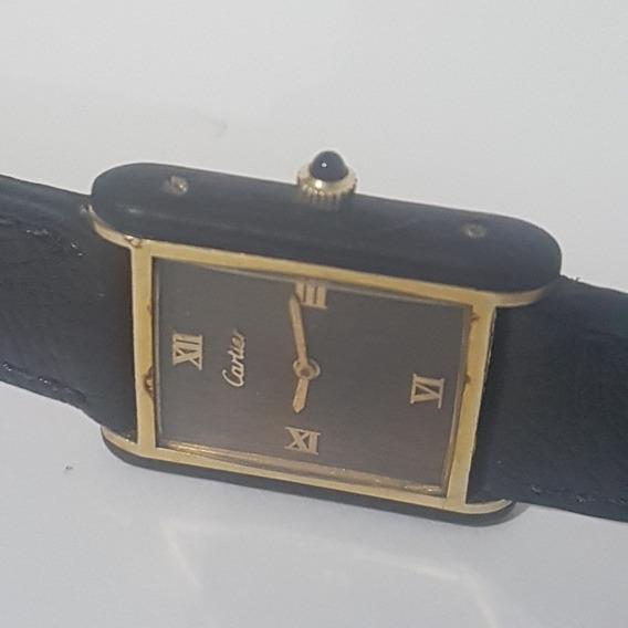 Relógio Cartier Acorda Todo Original Em Plaquer De Ouro Lind