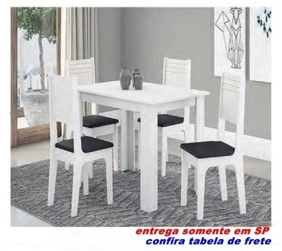Conjunto De Mesa Cozinha Jantar 4 Cadeiras Perola