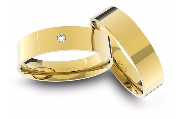 Alianças De Ouro 18k Anatômica Com Diamante (5.0 Mm Largura)
