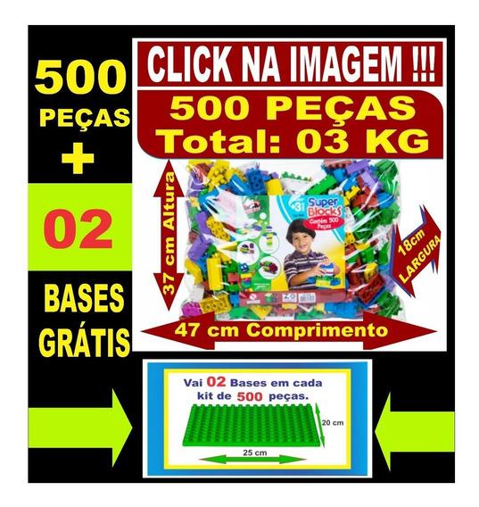 Brinquedos Educativos 500 Peças Médias + 02 Bases Grátis