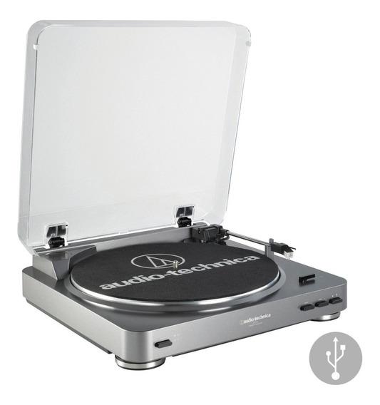 Toca Discos Audio Technica At-lp60x Usb Silver Bivolt Prata