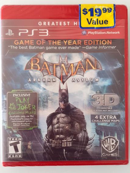Batman Arkham Asylum Ps3 Versão 3d Game Of The Year Edition