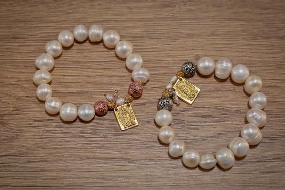 Pulsera Virgen Cuadro Perla