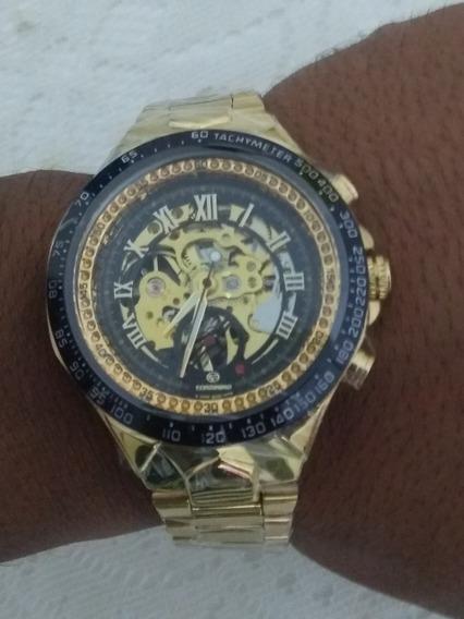 Relógios Mecânico De Pulso Dourado Forsining Frete Grátis