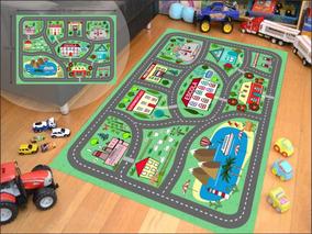 Tapete Ilustrativo Pista Para Brincar De Carrinho Kids A01