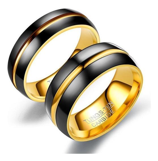 Anel Aliança Preto E Dourado 8 E 6 Mm Aço Inoxidável