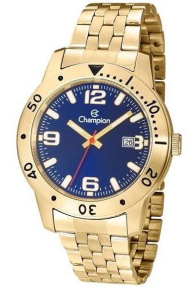 Relógio Dourado Masculino Fundo Azul Com Calendário Champion