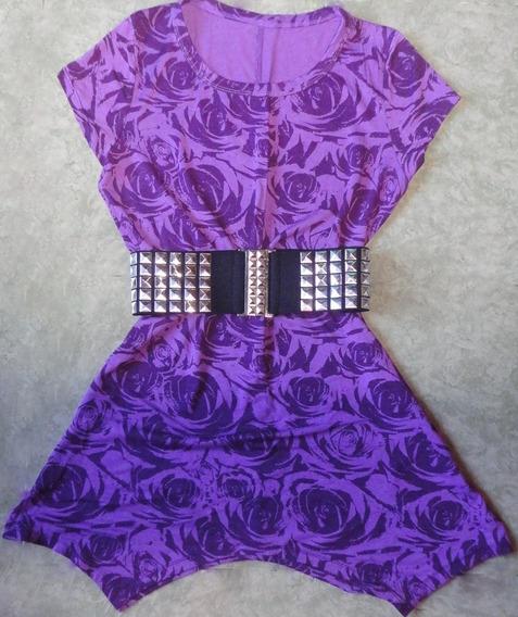 Vestido Mini Rosas Violeta Verano