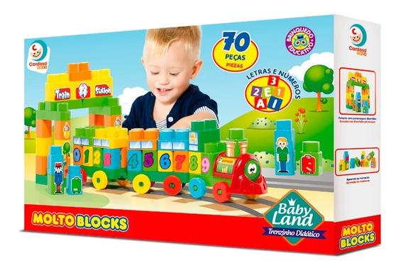 Baby Land Trenzinho Didático Com Blocos Educativos 70 Peças