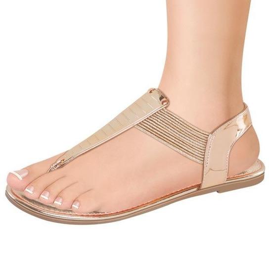 Sandalias Elastico Dorados Sexy 174316