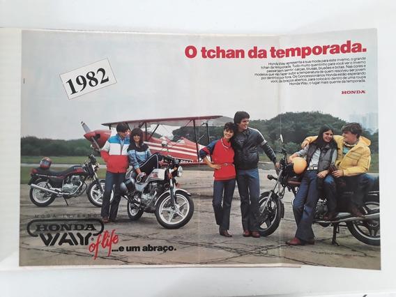 Propaganda Antiga Poster Honda Way Moda Inverno 1982 Raro