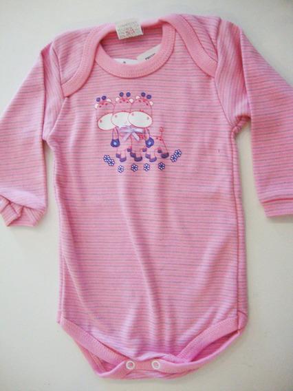 Body Bebê Menina Manga Longa Listrado Girafas