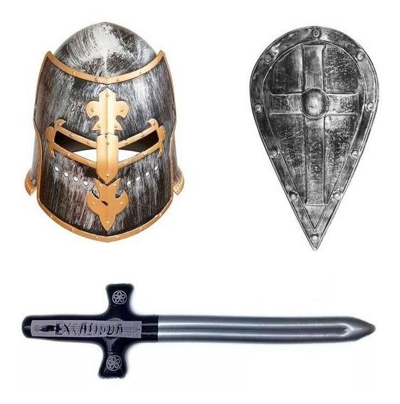 Disfraz Medieval Hombre Casco Espada Escudo Halloween Fiesta