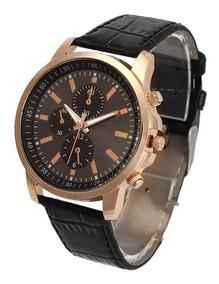 Relógio Masculino Geneva Quartzo Pulseira Couro