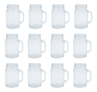 Vasos De Vidrio Mason Jar 500ml Caja 12 Pzs Tarros Con Asa