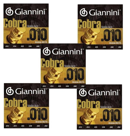 Kit 5 Encordoamentos Violão Aço Giannini Cobra 010 Geefle