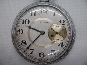 Reloj Illinois De Bolsillo De Cuerda Vintage Años 20s Raro