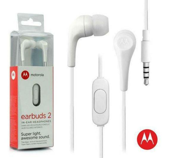 Fone De Ouvido Earphone Motorola Earbuds 2 Branco P2 Sh006