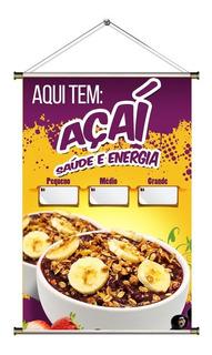 Banner De Açaí Na Tigela - 60x90cm