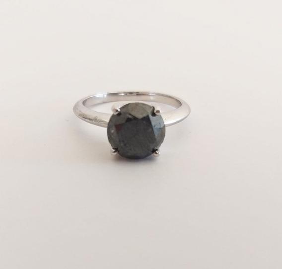 Anel Em Ouro Branco 18k Com Diamante Negro