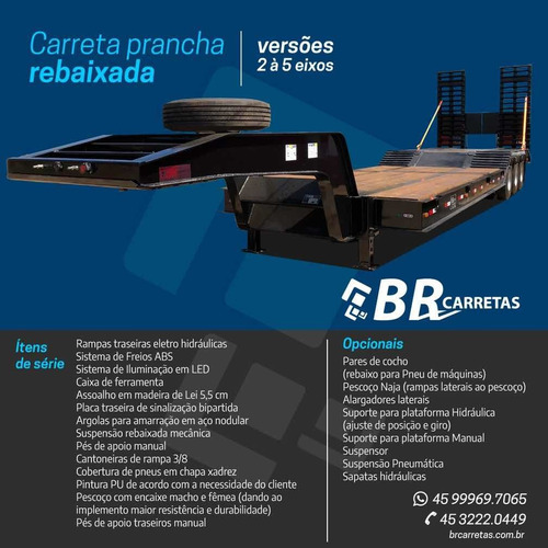 Carreta Prancha 3 Eixos Rebaixada Br Carretas 2021