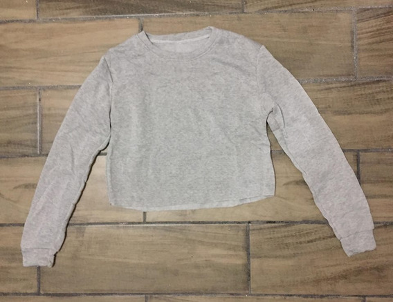 Suéter-saco-sudadera Gris Corto Para Mujer Moderno