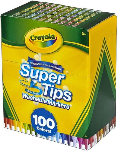Crayola Supertips 100 Plumones Lavables - Niños Y Jóvenes