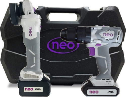 Kit Taladro Percutor + Amoladora Bateria 20v Neo Brushless